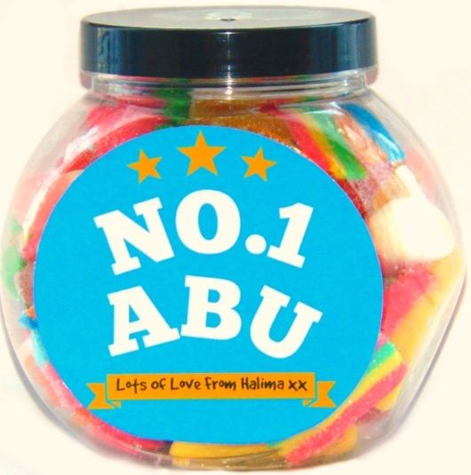 Personalised No.1 Abu Pick N Mix Halal Sweet Jar Gift