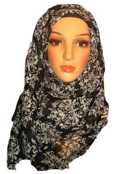 Womens Ladies Black Damask Hijab Maxi Scarf
