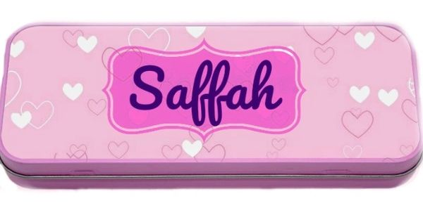 Personalised Girls Tin Metal Pencil Case Hearts