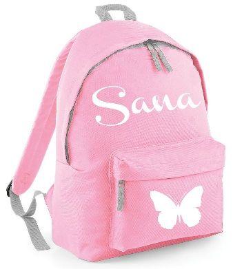 Girls Personalised Name Rucksack Bag School Sports Backpack