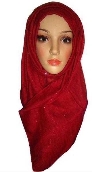 Womens Ladies Maroon Glitter Hijab Maxi Scarf