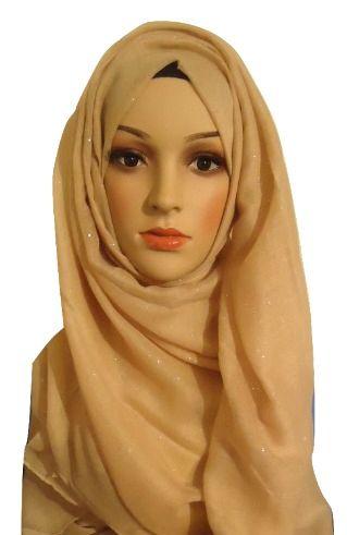 Womens Ladies Beige Glitter Hijab Maxi Scarf