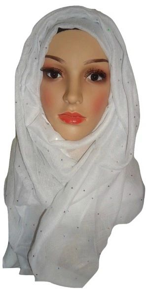 Womens Ladies White Sequin Hijab Maxi Scarf