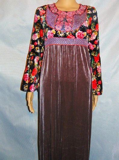 Womens Ladies Brown Floral Velvet Abaya Kaftan Dress