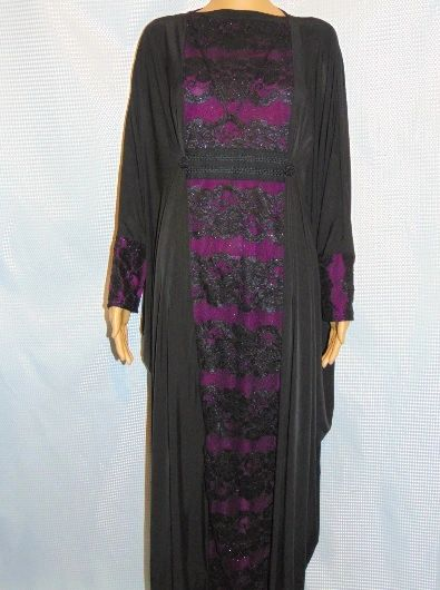 Womens Ladies Butterfly Batwing Black Purple Jersey and Lace Abaya