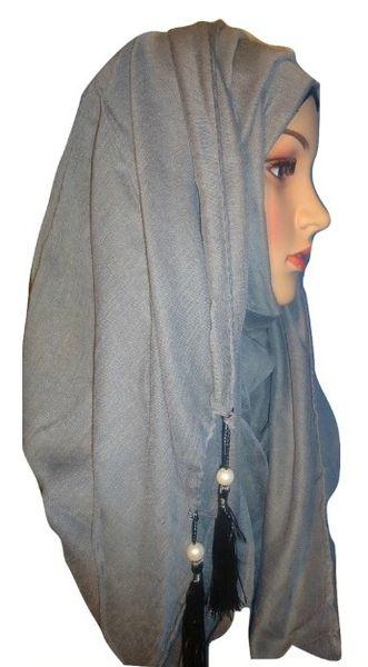 Womens Ladies Grey Pearl Hijab