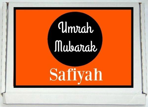 Personalised Umrah Mubarak Letterbox Halal Sweets Chocolates Treats Islamic Umrah Gift