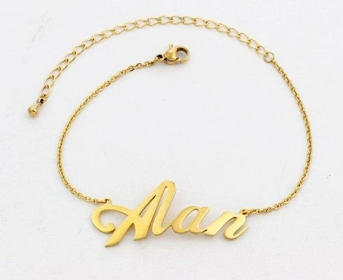 Personalised Name Hand Chain Bracelet Gold Silver