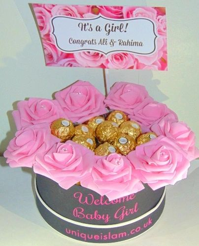 Personalised New Baby Girl Floral Chocolates Gift Aqiqah