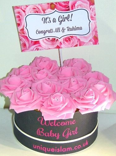 Personalised New Baby Girl Floral Flower Box Pink Gift Aqiqah