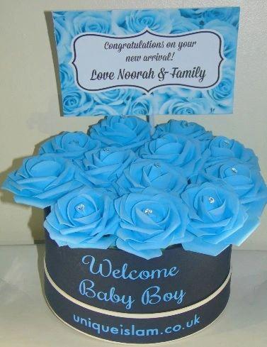 Personalised New Baby Boy Flower Box Gift Aqiqah