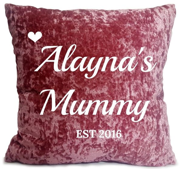 Personalised Velvet Cushion Name Pink Mummy Cushion Muslim Newborn Gift