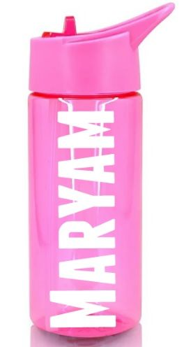 Personalised Name Water Bottle Sports Drinking Girls Pink