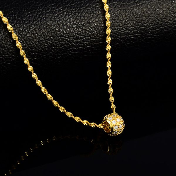 24K Gold Crystal Ball Necklace Pendant