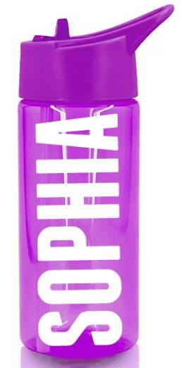 Personalised Name Water Bottle Sports Drinking Girls Purple