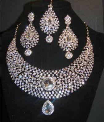 Silver Jewellery Bridal Tikka Earrings Set