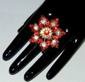 Large Red Flower Ring