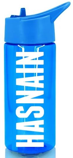 Personalised Name Water Bottle Sports Drinking Boys Blue