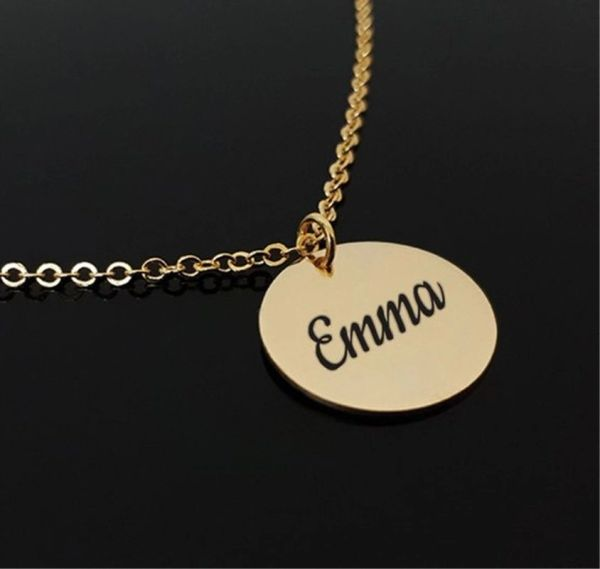 Personalised English Name Round Necklace Gold Silver