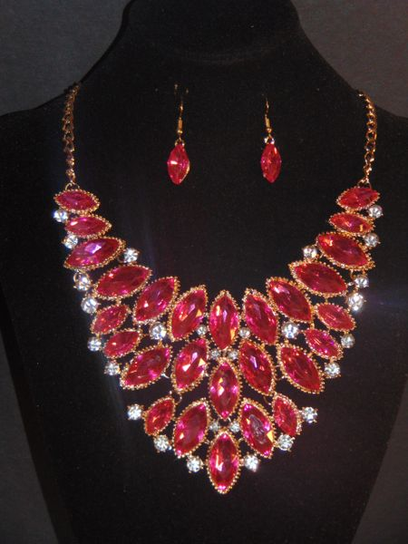 Statement Necklace Set Pink Fashion Jewellery
