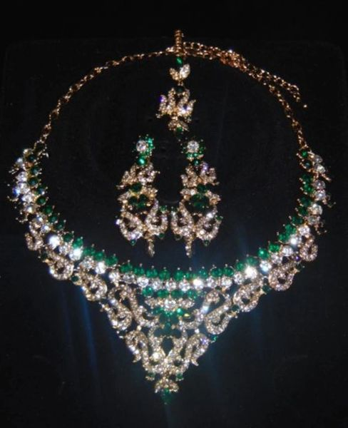 Green Silver Jewellery Set Wedding Necklace Tikka Earrings Haar