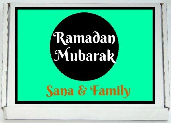 Personalised Ramadan Mubarak Letterbox Halal Sweets Chocolates Treats Islamic Ramadan Gift