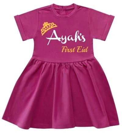 Girls Personalised Name Dress My First Eid Gift Princess