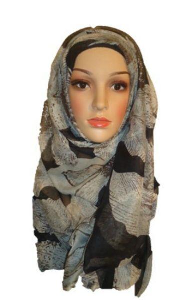 Womens Ladies Black Grey Patterned Hijab Maxi Scarf