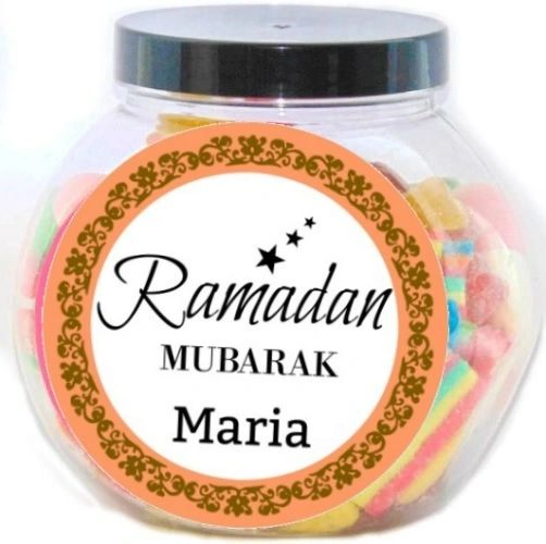 Personalised Ramadan Mubarak Name Pick N Mix Halal Sweet Jar Gift