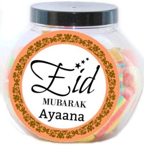 Personalised Eid Mubarak Pick N Mix Halal Sweet Jar Gift