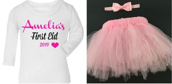 Girls Personalised Name Dress Tutu Headband My First Eid Outfit