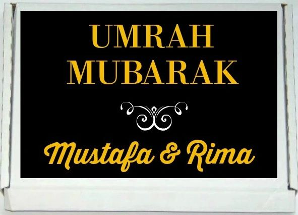 Personalised Umrah Mubarak Letterbox Halal Sweets Chocolates Treats Islamic Umrah Gift