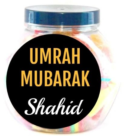 Personalised Umrah Mubarak Sweets Jar Pick N Mix Halal Sweet Jar Gift
