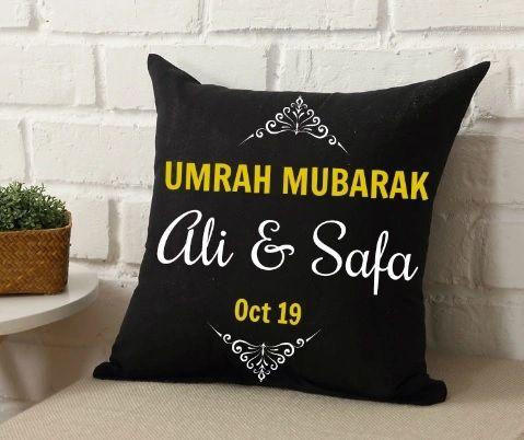 Personalised Umrah Cushion Umrah Gift Umrah Mubarak Islamic Gift