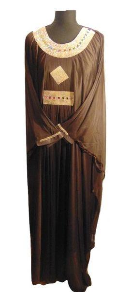 Womens Ladies Brown Gold Jewelled Batwing Abaya