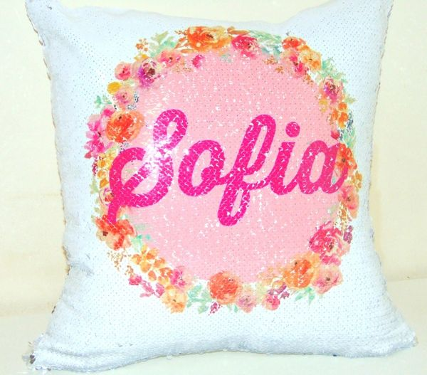 Personalised Name Sequin Magic Reveal Cushion Flower Cushion Muslim Gift