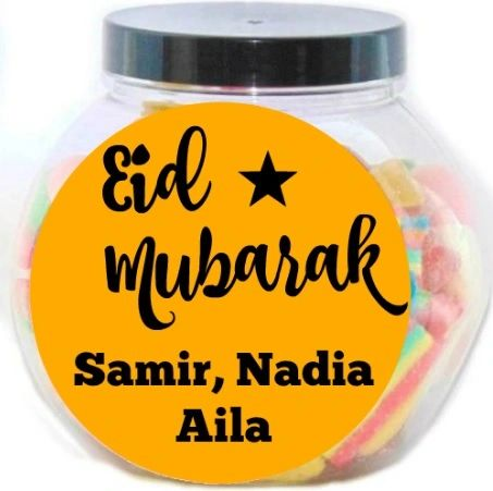 Eid Mubarak Personalised Pick N Mix Halal Sweet Jar Gift