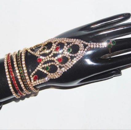 Silver Hand Panja Ring Hand Piece