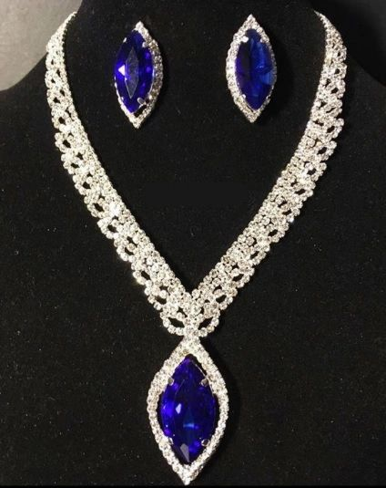 Statement Necklace Set Blue Red Fashion Jewellery