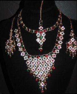 Green Red Silver Jewellery Set Wedding Necklace Tikka Earrings Haar