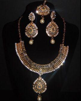 Gold/Silver Jewellery Set Wedding Necklace Tikka Earrings Haar