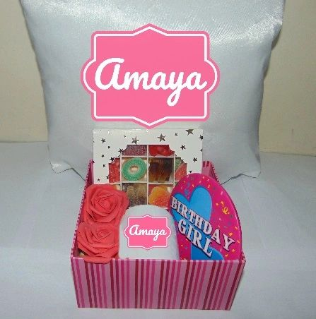 Girls Personalised Birthday Gift Hamper/Gift Box With Cushion