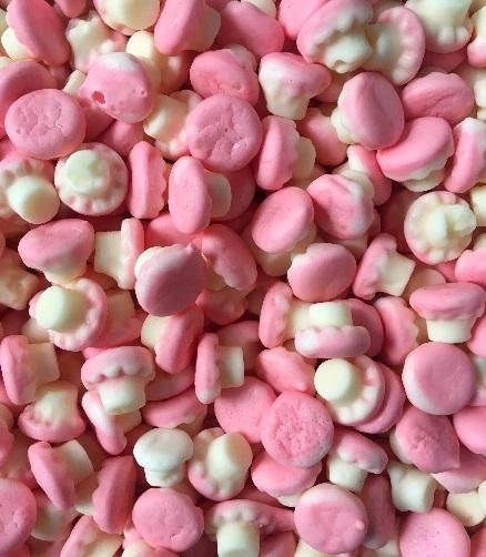 Mini Foam Strawberry Mushrooms HMC Approved Halal Sweets
