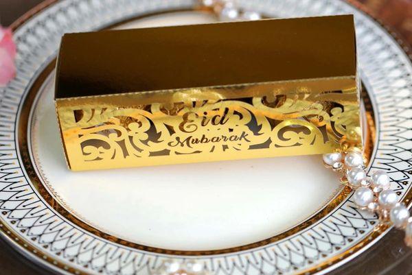 10x Eid Mubarak Sweet Favour Box Gold Halal Gift