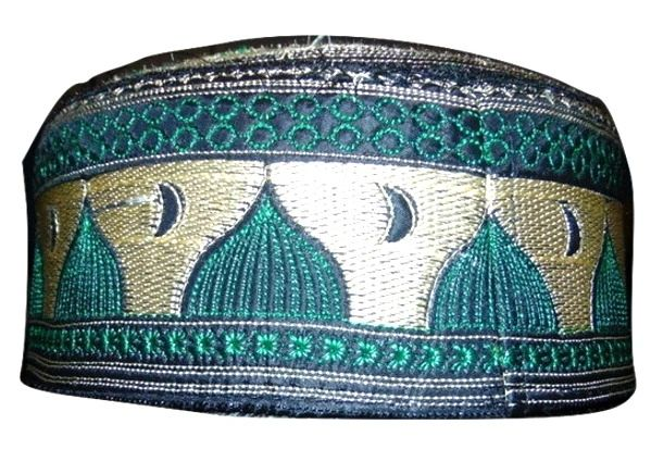 Mens Islamic Green/Gold Prayer Hat