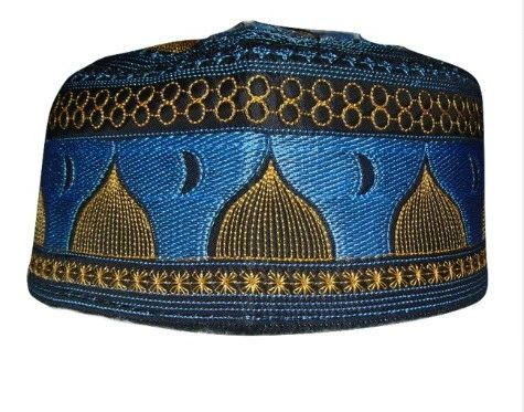 Mens Blue Islamic Prayer Hat