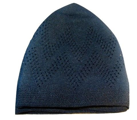 Mens Black Zig Zag Islamic Prayer Hat