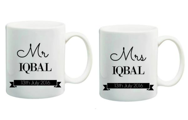 Personalised Mr & Mrs Wedding Mug Set Islamic Gift