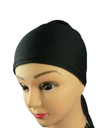 Black Hijab Bonnet Cap Plain Tieback Underscarf