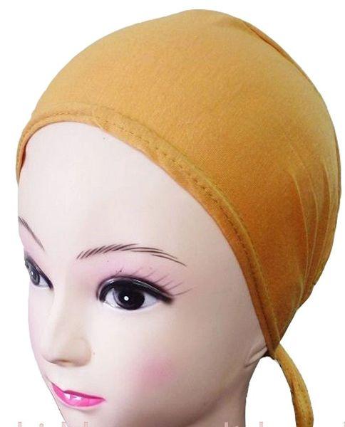 Mustard Hijab Bonnet Cap Plain Tieback Underscarf